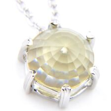 Woman Round Cut Smoky Fire Topaz Gemstone Silver Necklace Pendants With chain