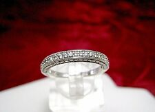 925 STERLING SILVER CZ CUBIC ZIRCON PAVE SET FILIGREE WEDDING RING BAND SIZE 7