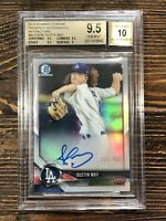 2018 Bowman Chrome Prospect Auto Refractor Dustin May /499 BGS 9.5/10 RC Dodgers