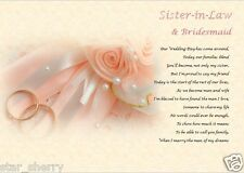 SISTER IN LAW BRIDESMAID (Laminated Gift)