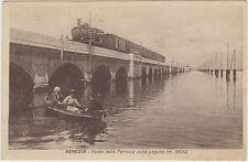 VENEZIA - PONTE DELLA FERROVIA SULLA LAGUNA CON TRENO FUORI STAZIONE 1927