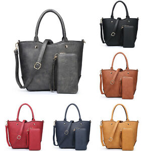 New Womens 2 in 1 Plain Design Tote Handbag Shoulder Bag With Matching Purse