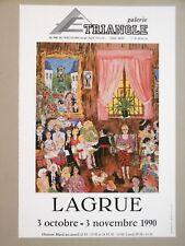 Jean-Pierre LAGRUE Affiche originale Gal Triangle Montmartre Paris art naïf café