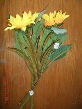 NEW 2 Artificial Sunflower Stem Picks w/ 1 grass spray yellow green brown 24 in.