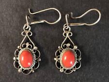 Coral Earrings - Sterling Silver- Oval Natural Gemstone - Vintage