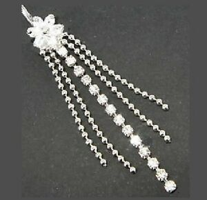 Long Flower Belly Bar - Clear Crystal & Bead Dangle - 10mm Length Bar