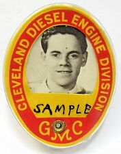 1940's WWII GMC CLEVELAND DIESEL ENGINE DIV. employee badge pinback home front +