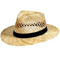 Chapeau pour Hommes Chapeau de Paille Voyageur Protection Solaire Droit Bord