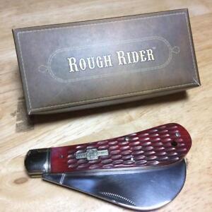 """Rough Rider Red Jigged Bone Hawkbill 4"""" Pocket Knife RR305"""
