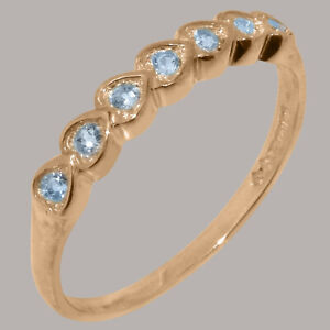 Solid 14ct Rose Gold Natural Aquamarine Womens Eternity Ring - Sizes J to Z