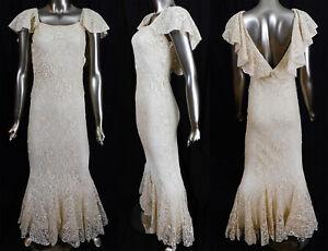 VTG 1930s Spiderweb Cobweb Needle Lace Bias Cut Sheath Fishtail Mermaid Dress