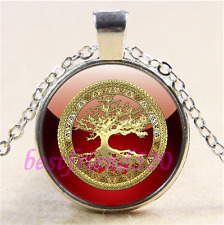 Red/Gold Celtic Tree of life Cabochon Glass Tibet Silver Pendant Necklace#CA87