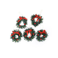 1:12 DollHouse Christmas Garland Decoration With Red Bow DIY Home Decor Gift  DD