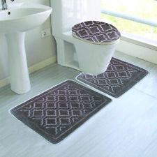 3 Piece Alexis Rug, Contour Rug And Lid Cover Set, Silver Grey