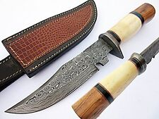 Damascus Steel Fixed Hunting Knife Blade & Bolster Camel Bone Handle with Sheath