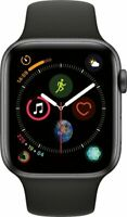 Apple Watch Series 4 44 mm Space Gray Aluminum Case with Black Sport Band.