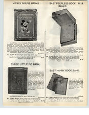 1935 PAPER AD Mickey Mouse Bank Three 3 Little Pigs Airdale Hound Book Ends