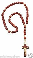 Mini Rosary Brown Wood Cord Bead Prayer Cross Pendant, Religious Catholic Favor