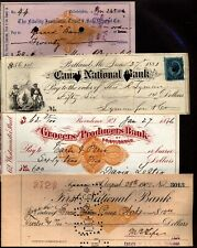 US 4 Old bank Checks from 1870's to 1900's Pa,Me,RI & NY