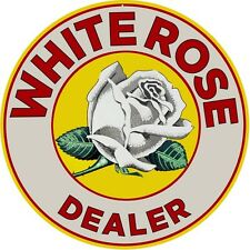 Large White Rose Dealer Reproduction Motor Oil Garage Art Sign