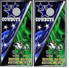 Dallas & Notre Dame 0463 Cornhole board game decal wrap bean bag