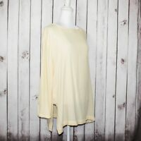BLACK CRANE Women's Pullover Tunic Blouse yellow Beige Rayon Wool Made in USA