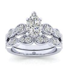 Certified 3.50Ct White Pear Cut Diamond Engagement Wedding 14K White Gold Ring