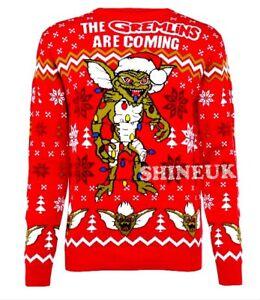 New Men's GREMLINS red Christmas knitted novelty Jumper festive Primark  XS-2XL