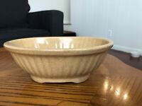 Vintage Haeger Ceramic Art Pottery Oval Brown Beige Speckled Basket Planter