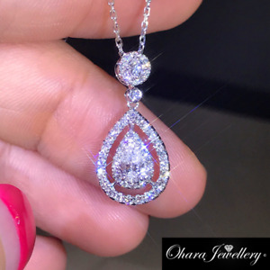 18K White Gold Cubic Zirconia Silver Bling Waterdrop Pendant Necklace Jewellery