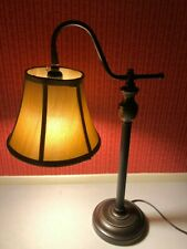 "Traditional Table Lamp Metal Resin Base Extended Arm Cloth Shade 22.5"" Christmas"