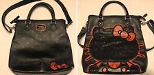 Preowned Sanrio 2014 Glitter Hello Kitty Loungefly Black Bag Cross Body Strap