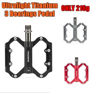 PROMEND Ultralight Titanium Cycling MTB Road Bike Bicycle Pedals 6 Bearings 216g