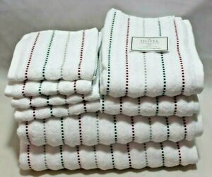 Hotel Collection 8 Pc Red Green Christmas Running Stitch Stripe Towel Set New