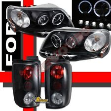 97-02 Ford Expedition Black Halo Projector Headlights + Dark Smoke Tail lights