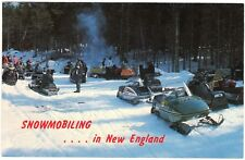 Snowmobiling in New England, MA VT NH ME, chrome postcard