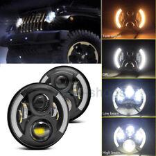 "7"" LED Projector White Headlight W/Halo Angel Eye For 2007-2016 Jeep Wrangler JK"