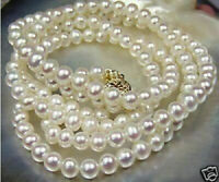 "20"" Stunning AAA 8-9mm real natural south sea white pearl necklace earring 14k"