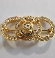 Vintage Past President American Legion Auxiliary Service Pin Rhinestones Rings