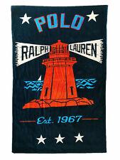 NWT POLO RALPH LAUREN POLO LIGHTHOUSE OCEAN LAKE BEACH TOWEL NAVY pool oversized