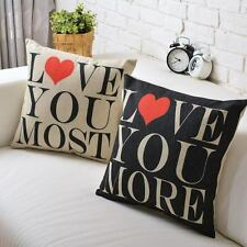 Wedding gift Love You more Red heart linen cushion Cover sofa throw pillow Case