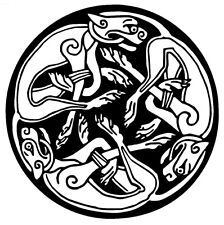 Celtic Round Dogs Decal Sticker Art Window Laptop Yeti Hippie Rock n Roll