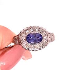 Ring in 18k White Gold 1.50ct Diamond and Tanzanite Right-Hand