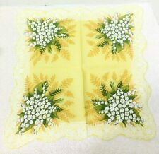 "Vintage Hankie Yellow w White Lily of Valley Bouquets Gold Ferns 17 1/4"" Big"