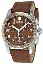 New Mens Victorinox Swiss Army 241151 Chronograph Brown Leather Strap Watch