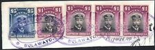Southern Rhodesia 1924 £5 blue & £1 purple x4 revenues, Barefoot 4/5, used