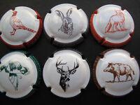 Série de  6 new capsules  de Champagne  Les animaux de la chasse