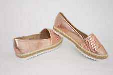 Mokassin Sneaker Damen Schuhe Gr. 38 Champagne Gold Glanz Ballerina Espadrilles