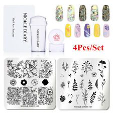 4Pcs/Set NICOLE DIARY Nail Stamping Plates Flower Leaf Nail Art Stamper Scraper