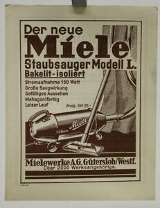 altes Prospekt Miele Staubsauger Modell L um 1930 Werbeblatt